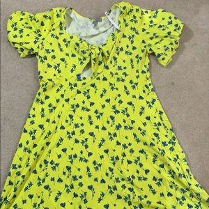 ASOS BNWT yellow and blue floral dress. Size 14